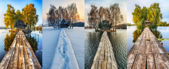 house on a small island. four seasons. a picturesque hut in all seasons Fotoväggar