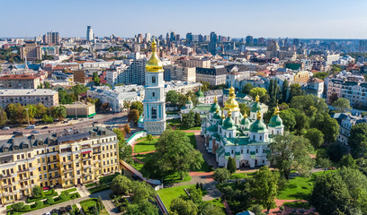 Foto op Aluminium Kiev Aerial top view of St Sophia cathedral and Kiev city skyline from above, Kyiv cityscape, capital of Ukraine