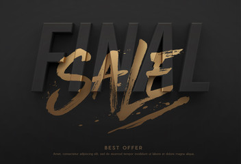 Final sale poster or flyer design. 3D word final with brushed word sale on it