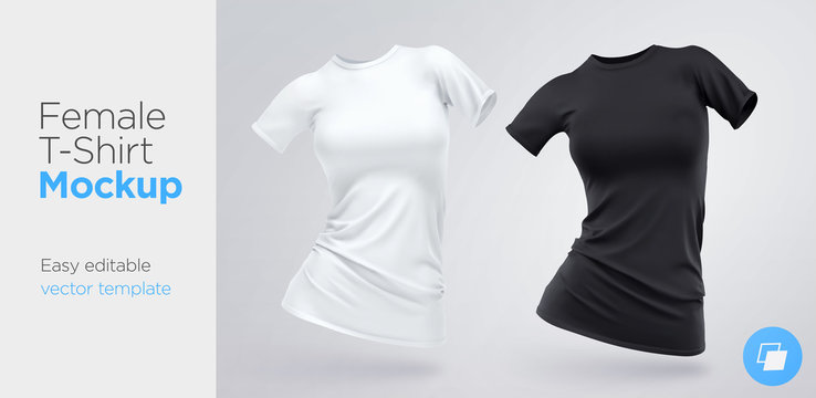 Realistic Template Blank White and Black Woman T-shirt Cotton Clothing. Empty Mock Up