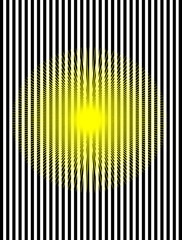 A digital illustration of an optical illusion made of black and white stripes