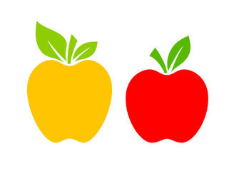 Yellow and red apple vector cartoon