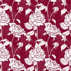 Rose hand drawn illustration pattern
