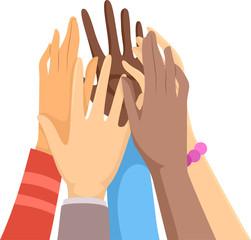 Hands Group Hi Five Illustration