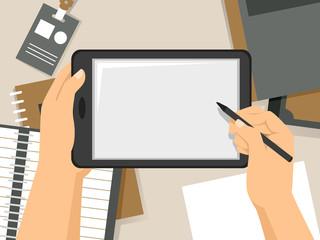 Hands Tablet Take Notes Illustration