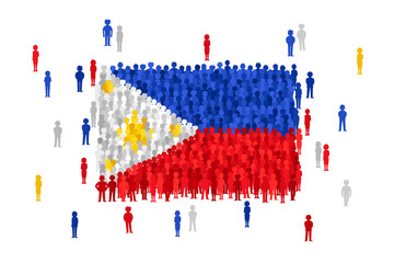 Vector Philippines state flag formed by crowd of cartoon people
