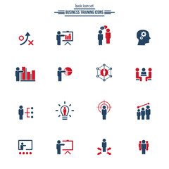 Business training icon set