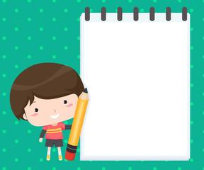 Kid Boy Pencil Sketch Pad Background Illustration