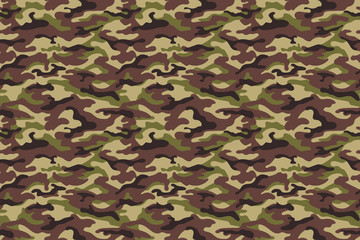 Army camouflage texture, green brown colors. Vector illustration