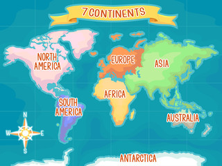 Geography Seven Continents Illustration