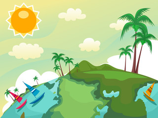Globe Tropical Country Illustration