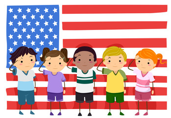 Stickman Kids Memorial Flag Salute Illustration