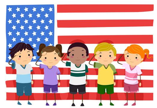 Stickman Kids Memorial Flag Salute Illustration