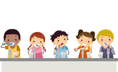 Stickman Kids Toothbrush Illustration