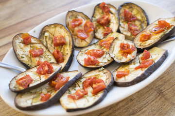 roasted eggplant with tomatoes and garlic