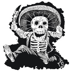 Day of the Dead Mexican Mad Mariachi Skull