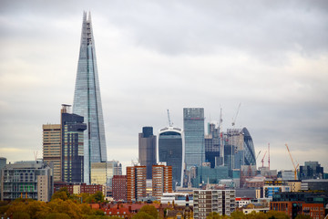 London cityscape in an overcast day