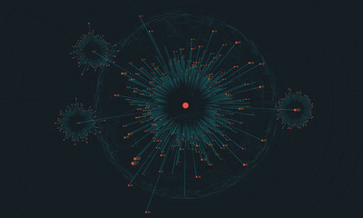 Fotoväggar - Big data circular visualization. Futuristic infographic. Information aesthetic design. Visual data complexity. Complex data threads analysis. Social network representation. Abstract business graph.