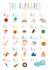 Cute cartoon illustrated alphabet with names and objects. English alphabet. Learn to read. Isolated Vector illustration.