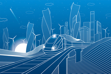 Fotobehang - Train traveling on railroad bridge in mountains. Tower and skyscrapers, modern city, business buildings. Night scene. White lines on blue background. Windmills power. Vector design art