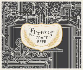 Vector banner for brewery and craft beer, with a handwritten inscription and spikelets on the background illustration of the production line and brewing equipment in retro style