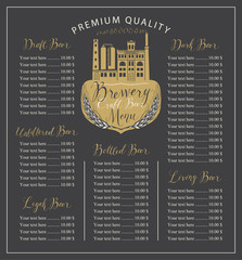 Vector craft beer menu with the image of the brewery building in retro style and price list with handwritten inscriptions