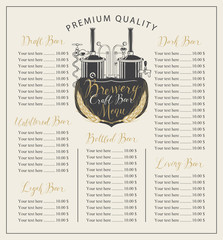 Vector craft beer menu with the image brewery production line and brewing equipment in retro style and price list with handwritten inscriptions