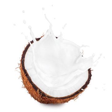 coconut with milk splash