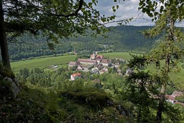 sicht auf Benediktinerkloster Beuron, Deutschland