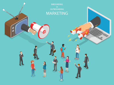 Inbound vs outbound marketing isometric vector. Hand with megaphone and another one with magnet are trying to capture the attention of the crowd of people.