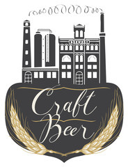 Vector banner for craft beer with a handwritten inscription and image of building of old brewery in retro style