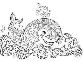 Antistress coloring whale on the waves. Scribbles, black lines, pattern, white background. Big fish in water vector