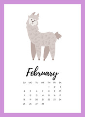 February 2018 year calendar page