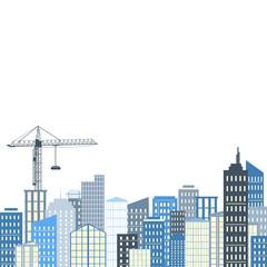 Urban landscape. Vector illustration. City background, grey and blue palette