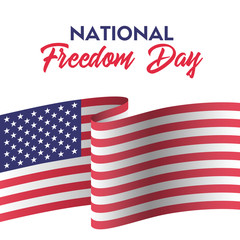 USA national freedom day. Greeting card with american flag