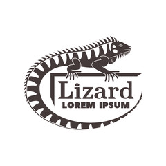 Monochrome logo with the image of a lizard, iguanas with text isolated on white background.