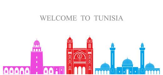 Tunisia set. Isolated tunisia architecture on white background