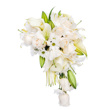 Flower bouquet of roses, lillies and camomile