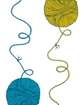 Vector yarn balls set with long thread and knot. Hand drawn illustration for knitting and crochet classes projects, brochure, poster or cover
