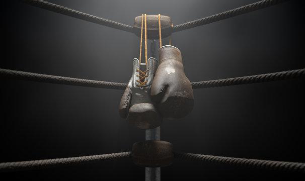 Vintage Boxing  Corner And Hung Up Gloves