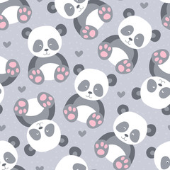 seamless cute panda animal pattern vector illustration