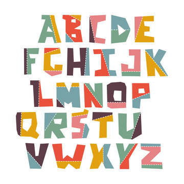 Hand lubberly cut vector colorful alphabet set.
