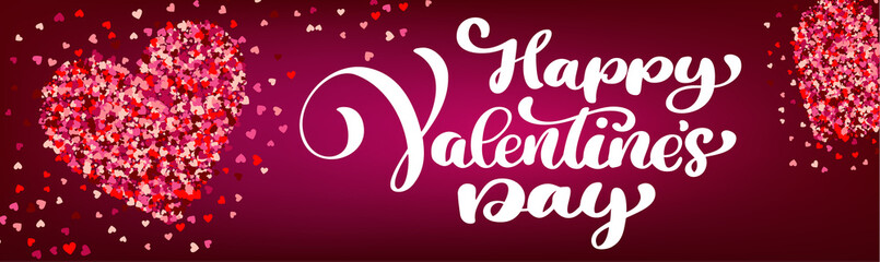 Text lettering Happy Valentines day banners. Stylish hearts on a red background