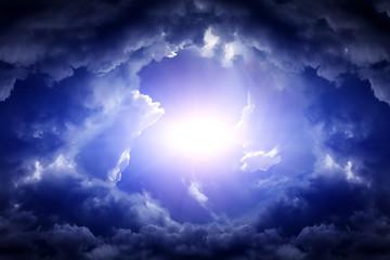 Aluminium Prints Heaven Cloudscape with a Light