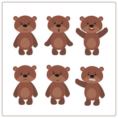 Set funny teddy bear in cartoon style. Collection isolated teddy bears on white background.