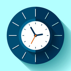 Wall сlock icon in flat style, timer on blue background. Business watch. Vector design element for you project