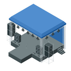 Isometric outdoor concert stage, truss system. Podium concert stage. Performance show entertainment, scene and event.