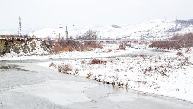 Frozen nature scene in winter