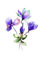 Poppy and Magnolia stylized flower