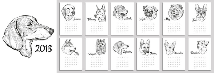 Calendar for 2018 with portraits of dogs of different breeds. Graphical vector illustration